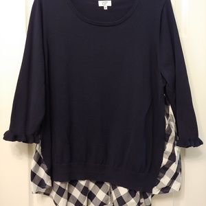 Sweater shirt navy and white
